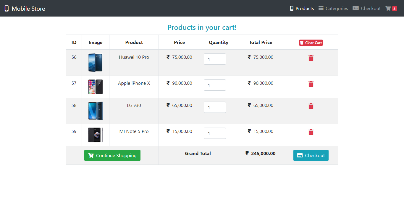Shopping Cart System With Checkout