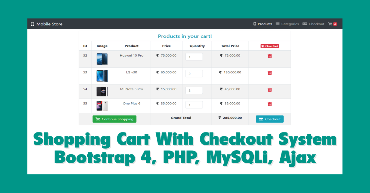 Shopping Cart With Checkout System Using PHP, MySQLi & Ajax